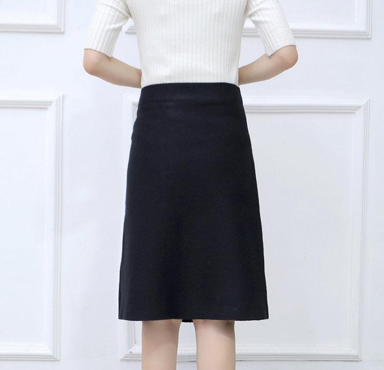New 2019 Skirt Autumn Elegant Office Skirts Women High Waist Faldas Mujer Casual Black Skirt Chic Bow Saia Femme Invierno (7)