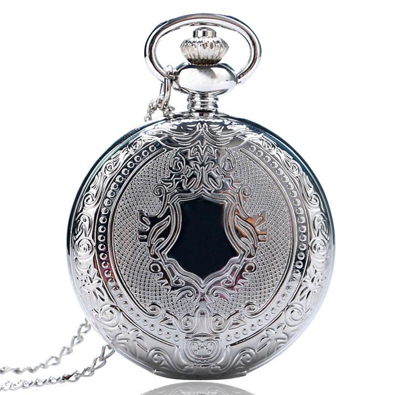 Vintage Silver Bells Design Retro Pattern Theme Quartz Fob Pocket Watch Men Women Full Hunter Pendant Gift with Chain Present for Children