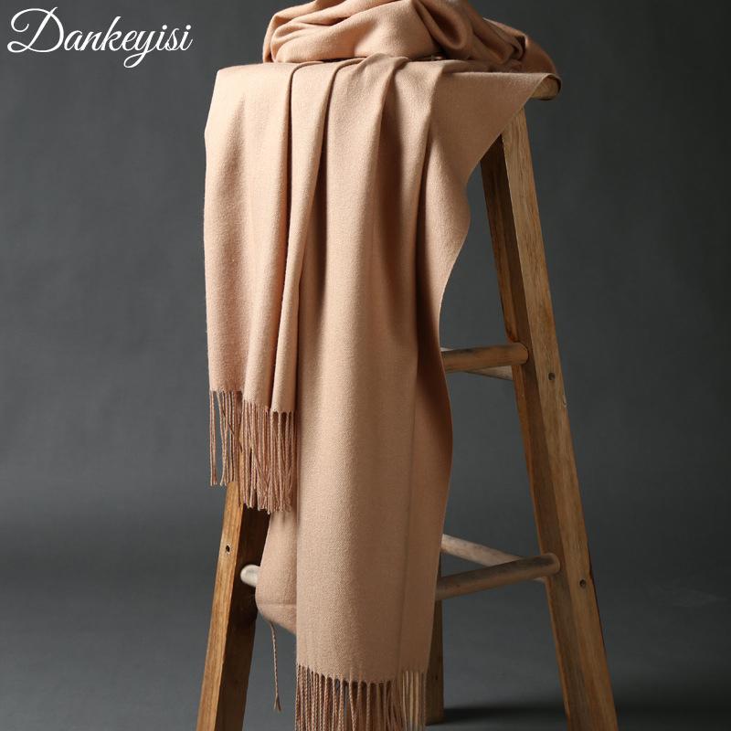 DANKEYISI Luxe hiver écharpe femme épaissir écharpes chaudes laine écharpe en cachemire homme Wrap Pashmina glands écharpe couleur unie hijab Y18102010