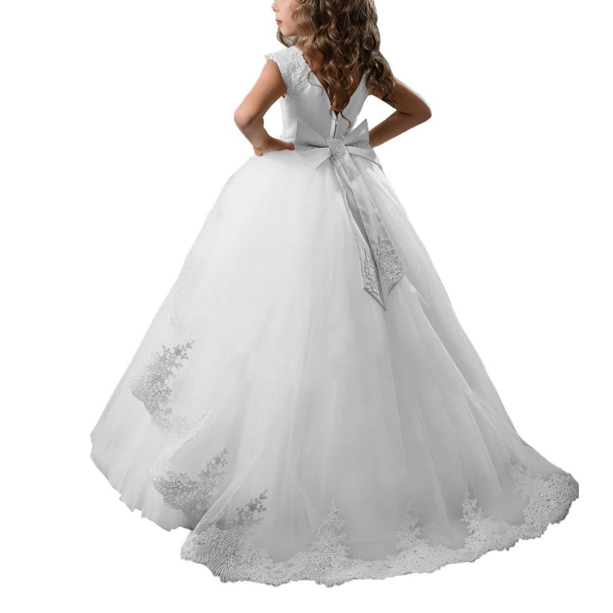 New Flower Girl White Satin Dress First Communion Wedding Pageant Formal AAA