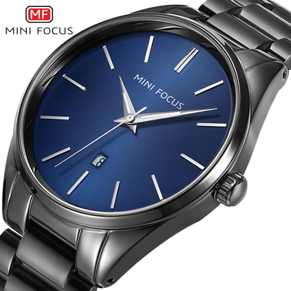 MINIFOCUS Nuevo reloj para hombre Reloj de pulsera de cuarzo resistente al agua de acero inoxidable para hombre Reloj masculino militar Relogio masculino