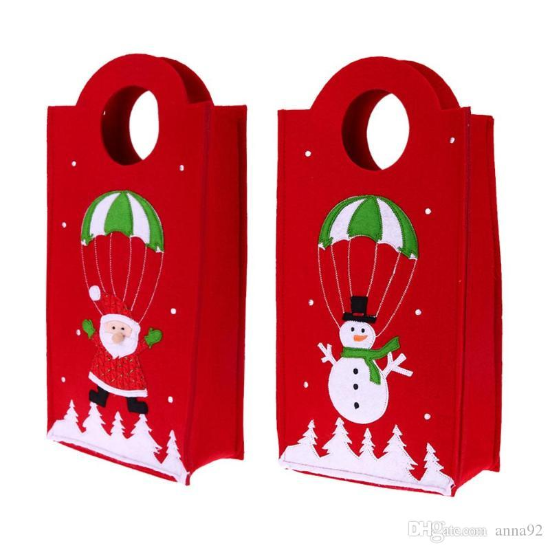 Creative Christmas Candy Gift Bag Embroidered Wine Bottle Handbag Holder Xmas Home Decoration Ornament Supplies Gift Holders free shipping