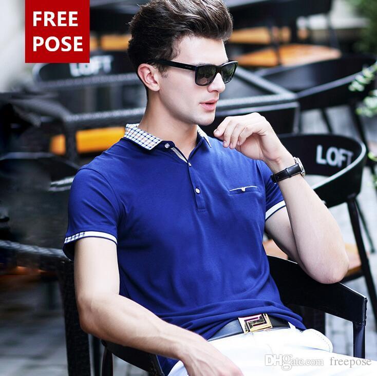 2018 FREIZEIT Marke T Shirts Für Männer Hip Hop Baumwolle Mens T-shirts Umlegekragen Mann Tops Casual Sommer Kurzarm Hemd herren T-Shirt