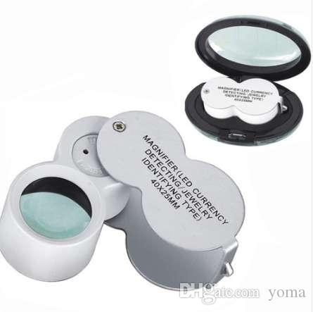 LED Lights Jewelry Magnifier Metal Construction Folding Jeweler Eye Loupe Magnifying Glass Gems Watch Repair Tools