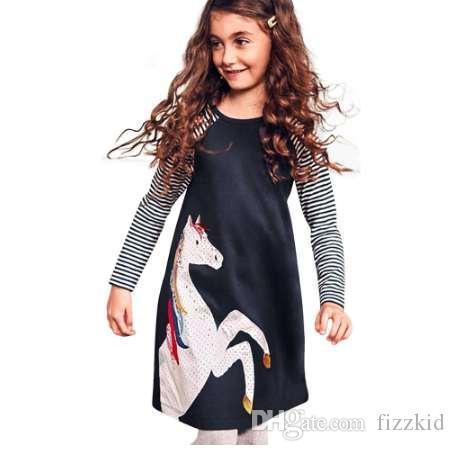 Новый летний девушка платье малыш девочка малыш весенняя одежда лошадь полоса печати Принцесса платье партии dropshipping
