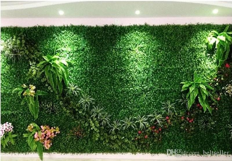 100 قطعة / الوحدة العشب الاصطناعي السجاد محاكاة البلاستيك البقس العشب حصيرة 25 سنتيمتر * 25 سنتيمتر الأخضر العشب للمنزل حديقة الديكور