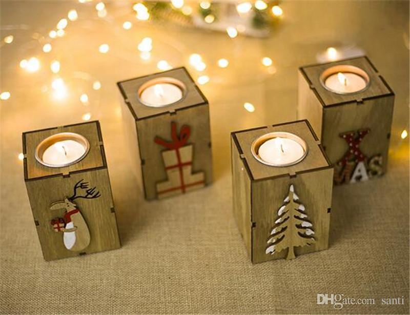 Lâmpada de mesa da mesa do castiçal da vela de madeira do Natal para a decoração da luz do chá