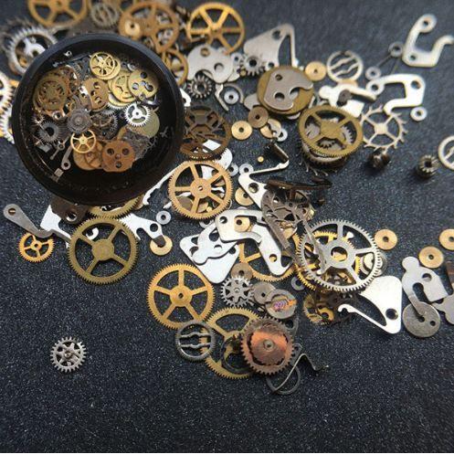 joyería del clavo de engranajes tiempo decoraciones DIY del punk del vapor del arte del clavo adornos de uñas máquinas de viento de cobre clavos accessoires DM078