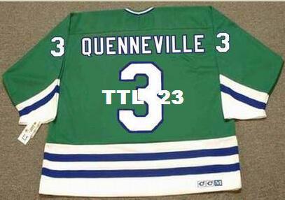 Männer # 3 JOEL QUENNEVILLE Hartford Whalers 1988 CCM weg Hockey Jersey oder benutzerdefinierte jeder Name oder Nummer retro Jersey