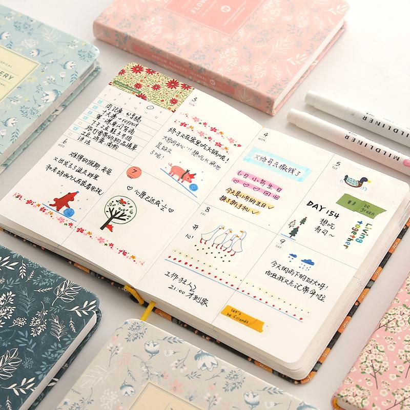 Kawaii Floral Notebook Yearly Monthly Weekly Planner Agenda School Office Supplies Cute Stationery Papelaria Diary Book for Girl