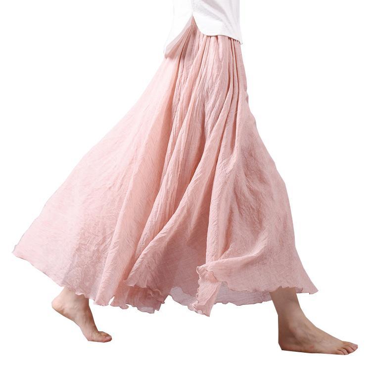 2017 패션 디자인 여름 여성 치마 리넨 코튼 빈티지 롱 스커트 신축성있는 허리 Boho 베이지 핑크 맥시 스커트 Faldas Saia