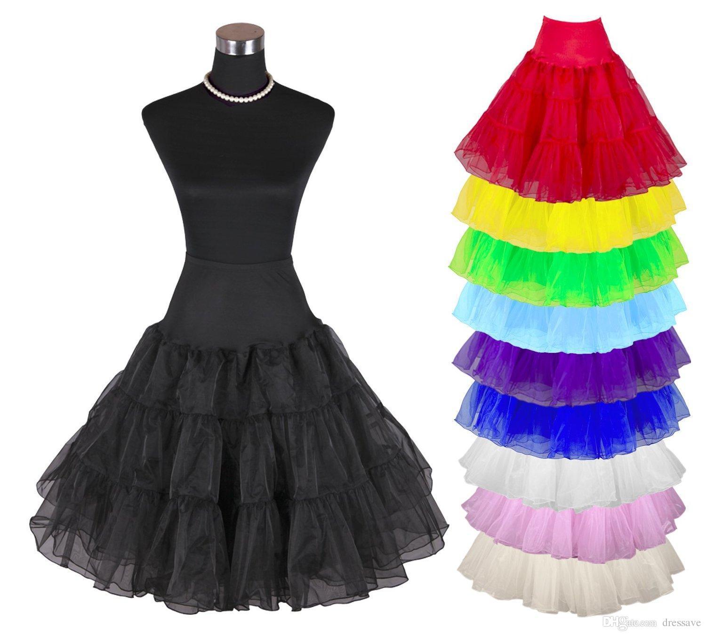 رخيصة في الأسهم المرأة 50 ثانية خمر روكابيلي التنورة الداخلية 25 طول الملونة تحتية توتو تول تنورة ل فستان الزفاف