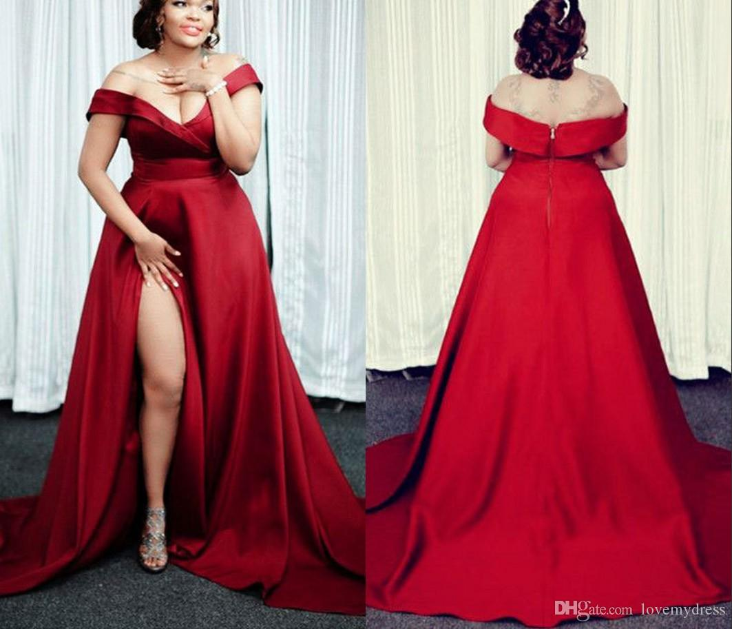 2021 Modern Plus Size Dark Red V Neck Vestidos Barato Longo Fenda Alta Com Mangas Cetim Ruched Formal Pageant Vestido Vestidos De Noite