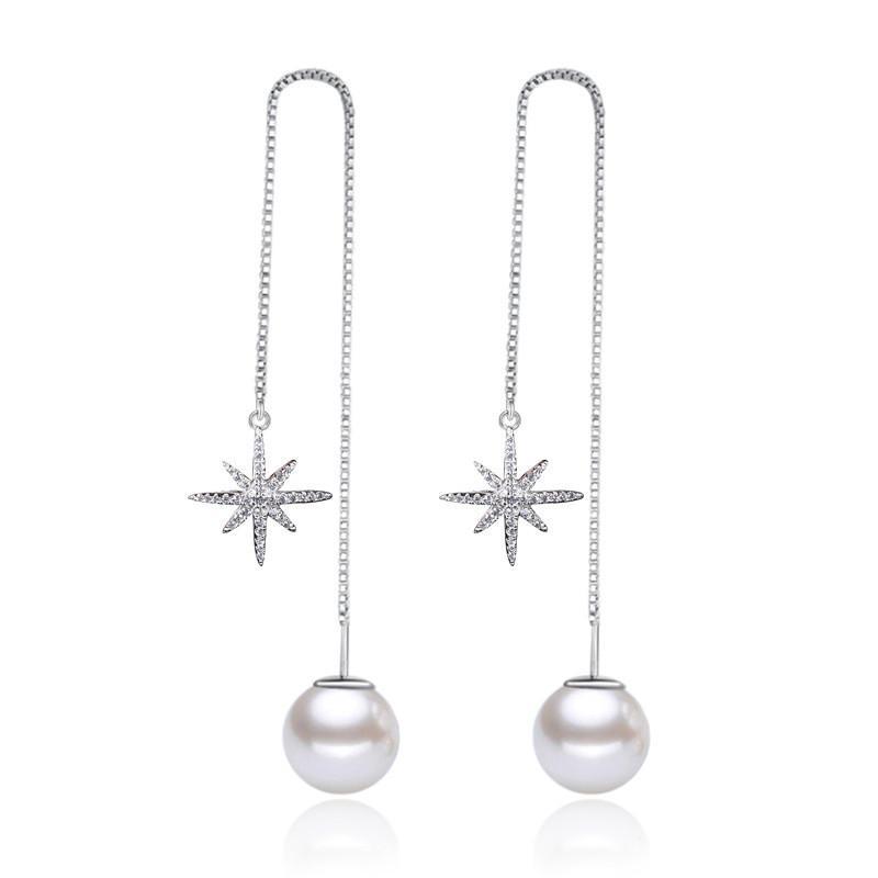 Luksusowy oświadczenie Cyrkonia symulowana Pearl Snowflake Cute Drop Kolczyki Dla Kobiet Moda Damska Biżuteria WHEG43