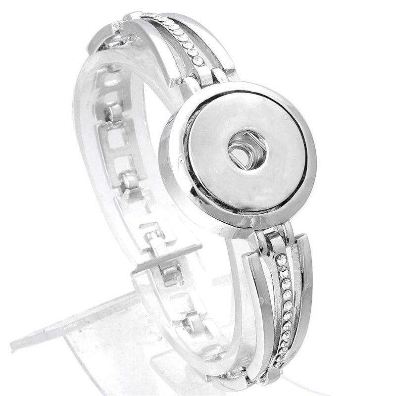 Xinnver Yapış Bilezik DIY Charms Gümüş Bileklik Bilezik Ile Kristal Fit Kadınlar Takı Için 18mm Yapış Düğmeler ZE368