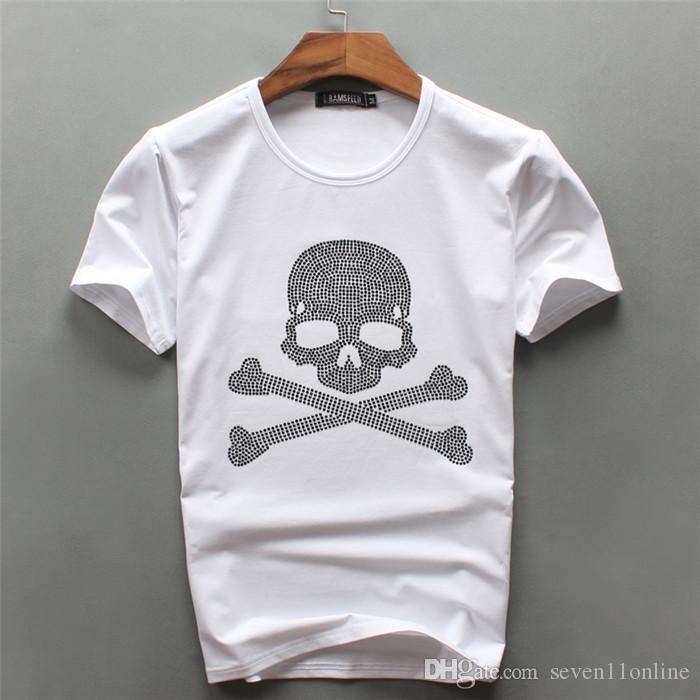 2021 Новая мода белый цвет мужской череп роскошный бриллиант дизайн футболки мода футболки мужчины смешные футболки бренда хлопчатобумажные топы тройки на продажу