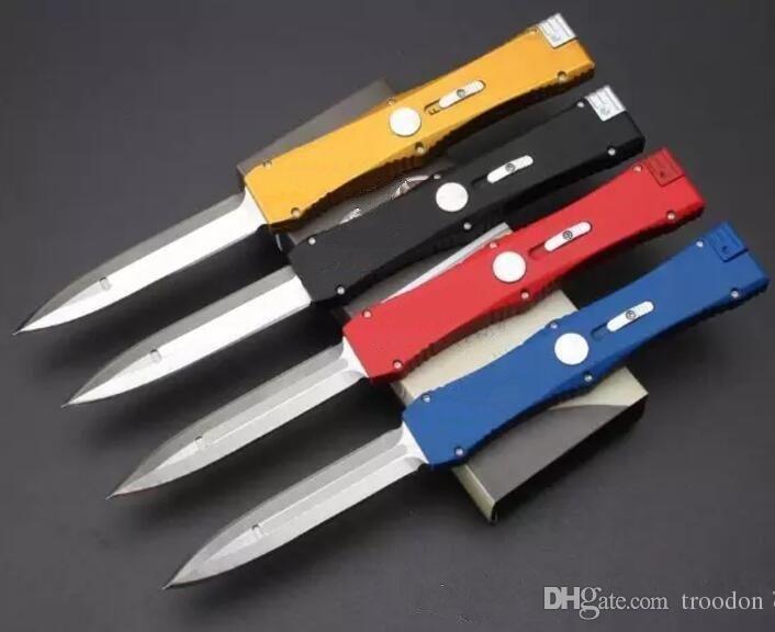 4 couleurs unique action classiques de mesure D / E lame aluminium 6061 poignée couteau satin 1pcs