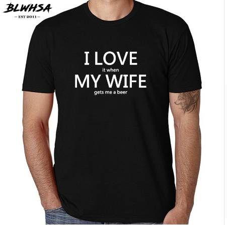 T-shirt da uomo BLWHSA Fashion I LOVE MY WIFE T-shirt da uomo casual a maniche corte multicolor opzionali in cotone 100%