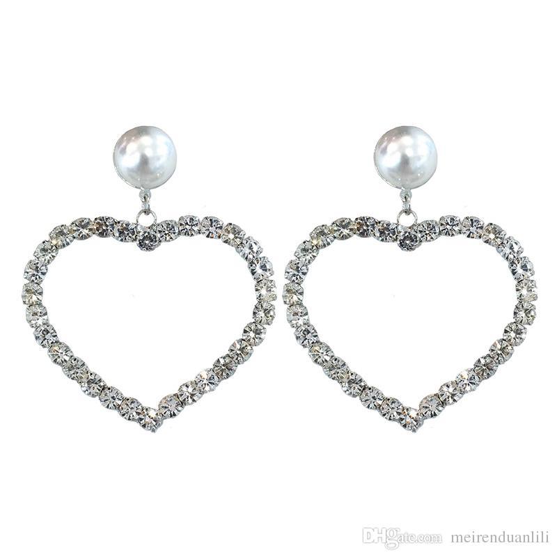 Orecchini a forma di cuore Orecchini a goccia di cristallo bianco e perla Orecchini a sospensione in argento sterling 925 per donna Amante con scatola gratis