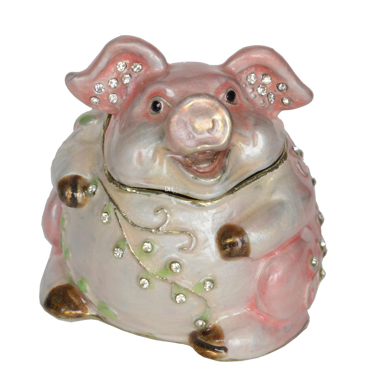 Jeweled étain cochon bijou boîte à bijoux créative mignon cadeaux en métal artisanat Collectibles cadeaux Fengshui