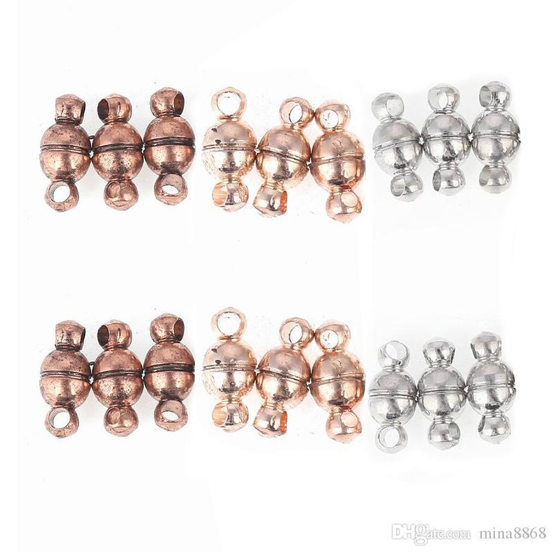 100PCS 5*11MM Rose Gold Black Vintage Magnetic Clasp fit Bracelet Connectors Components Magnet buckle Jewelry Making Findings Accessories