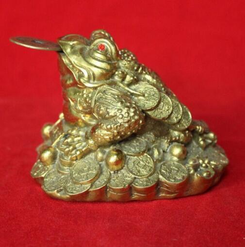 Um ornamentos de cobre Zhaocai trombeta sapo sapo Feng Shui Mobiliário Doméstico decorações artesanato presentes