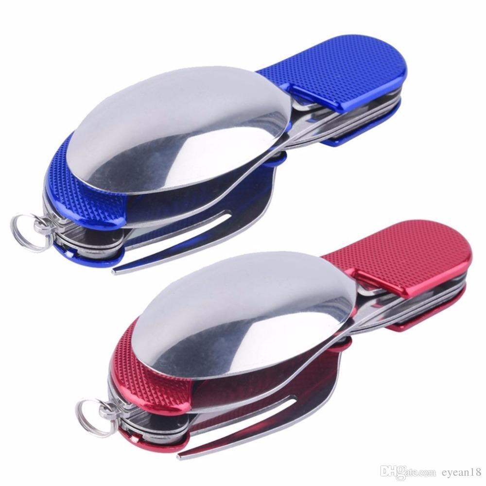 أدوات التخييم أدوات المائدة سكين التخييم في الهواء الطلق ، الفولاذ المقاوم للصدأ 3 in1 متعددة الوظائف قابلة للطي SpoonFork سكين مجموعات السفر