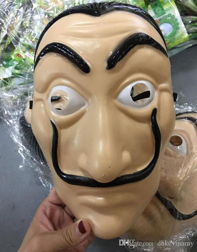 NUEVA Máscara de La Casa De Papel Salvador Dali Máscara plástica de cosplay Fiesta de adultos realistas Accesorios Máscaras