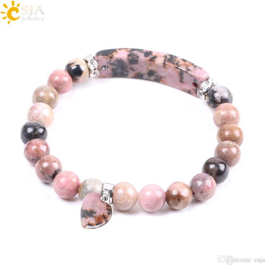 CSJA Discount Natural Gemstone Bangle Line Rhodonite Love Heart Fitting Healing Mala Beads Bracelets Rectangle Stones for Women Jewelry F104