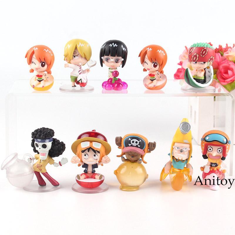 One Piece Anime Luffy Zoro Nami Usopp Sanji Chopper Franky Brook Robin One Piece Figure Action PVC Toys for Boys 10pcs/set