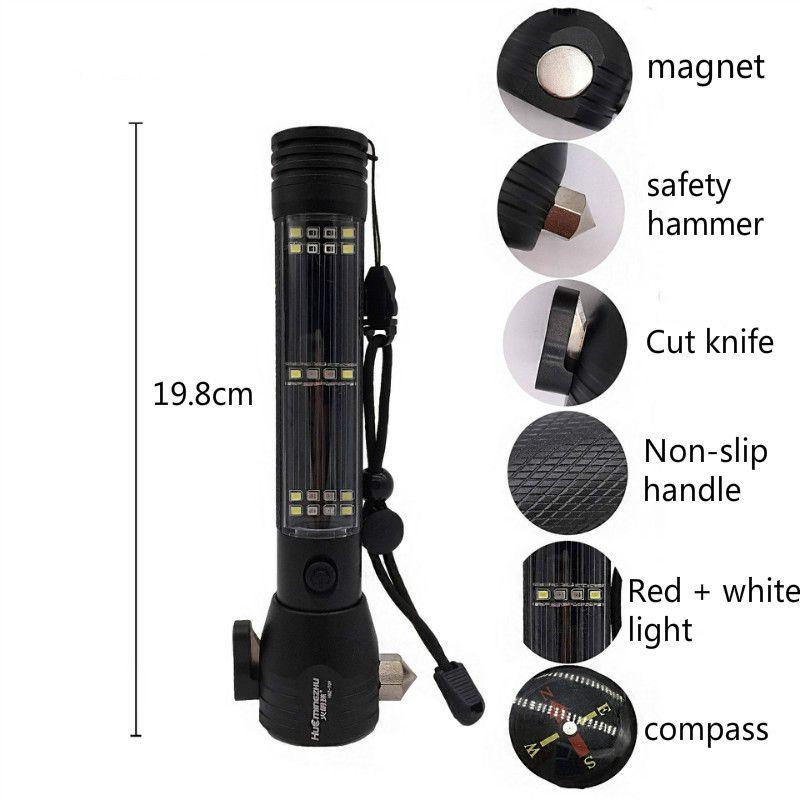 Solar Power LED Flashlight 9in1 Multi-functional Safety Hammer Torch Light UK