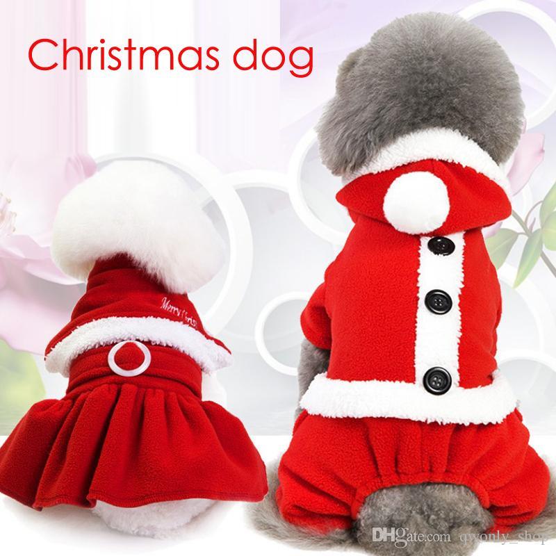 5 Size Christmas dog costume transformed dress santa suit classic pet dog warm Christmas clothes dog apparel decoration supplies