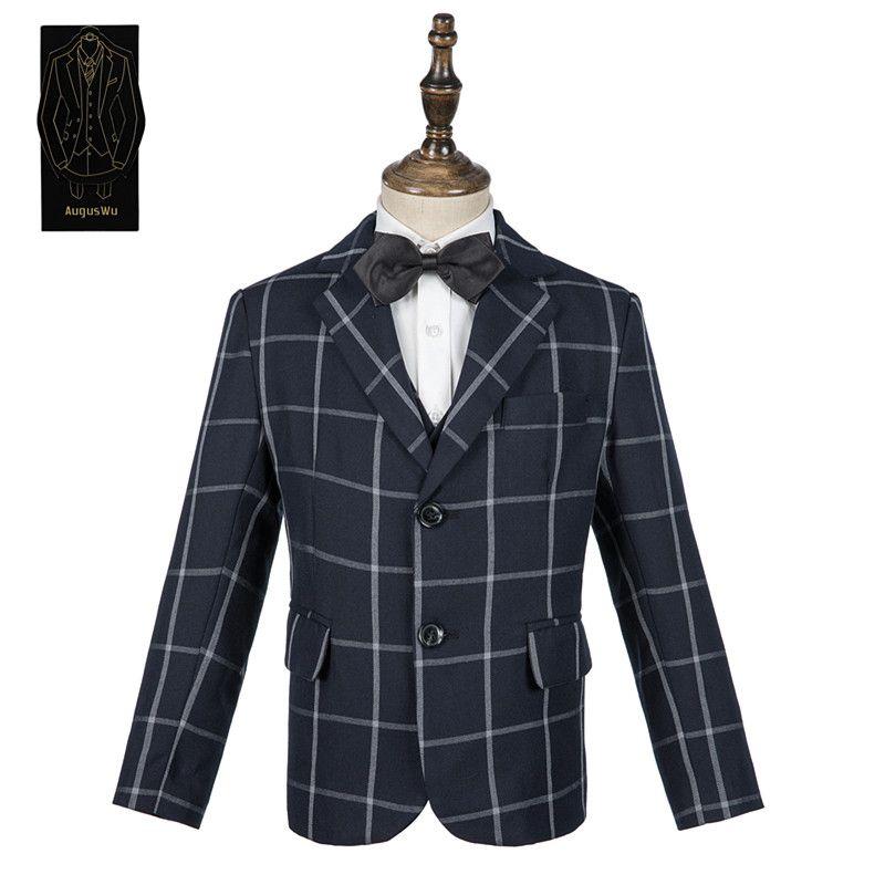 Boy high-end suit three-piece suit (jacket + pants + vest) boy wool blend checkered suit dress support custom