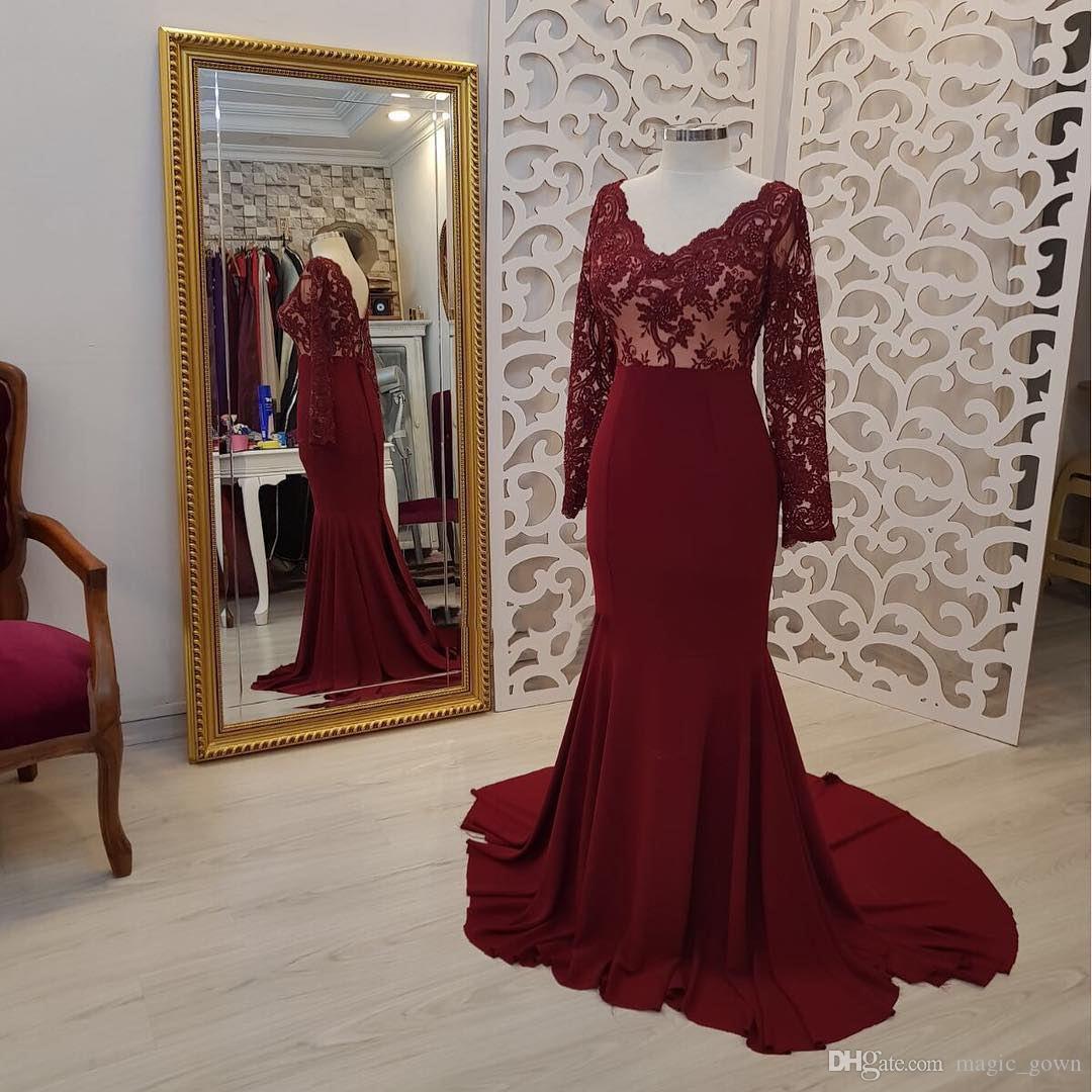 Real imagem borgonha 2019 nova sereia vestidos de noite applique mangas compridas trem da varredura vestidos formais evening dress robe de soiree