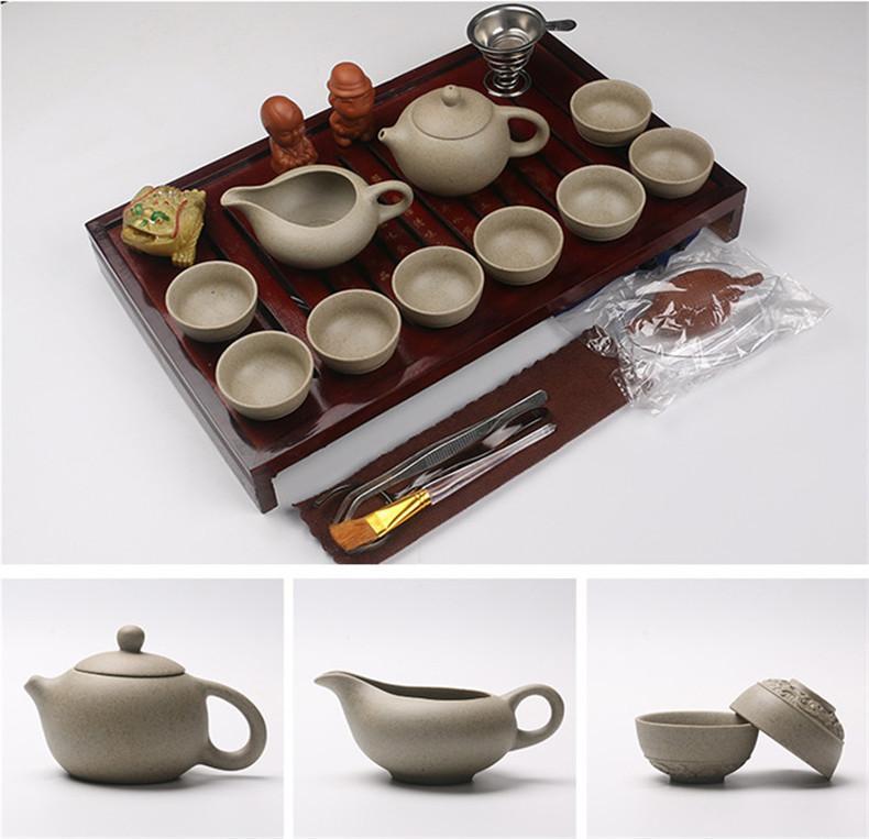 Çin Mor Kil Seramik Çay Seti Kung Fu Drinkware Çaydanlık Kupası çorba kâsesi demlik Doğal Ahşap Çay Tepsi Sıcak satış dahil