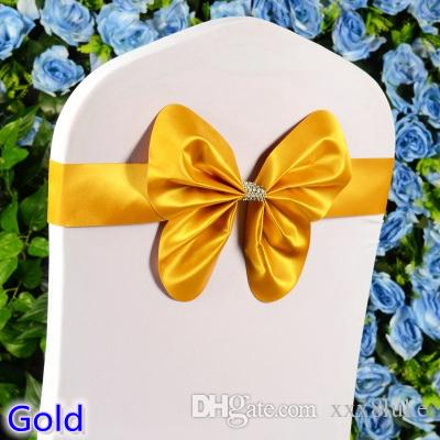 Gold colour chair sash wedding mini style butterfly bow tie lycra band stretch bow tie ribbon for chair covers on sale