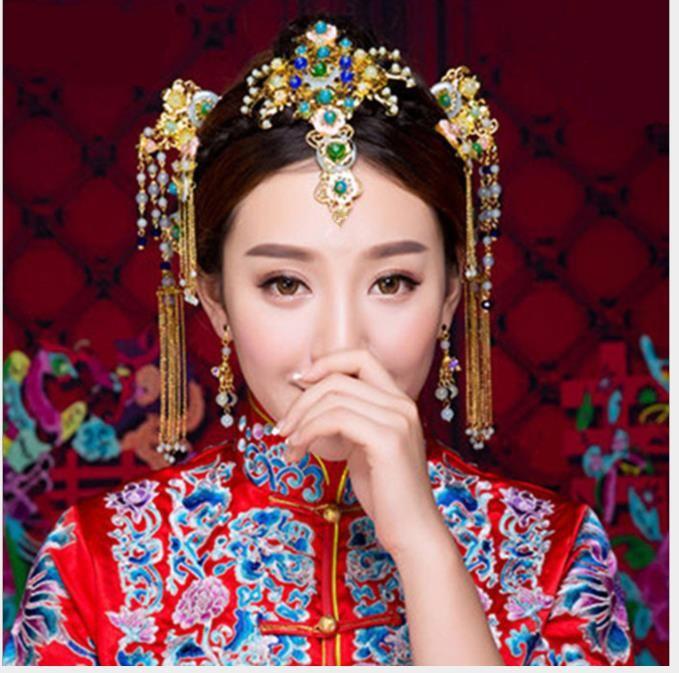 Chinese style comic ornaments, brides, costume, headwear, Phoenix crown, Qipao, accessories, wedding dress, hair accessories