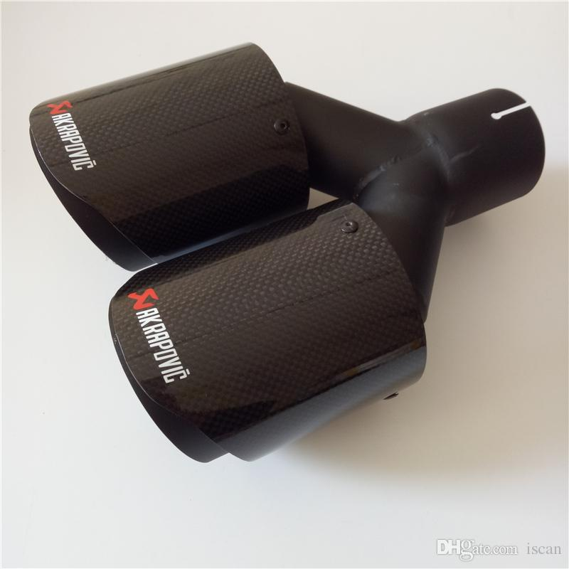 1 PCS Akrapovic Coated Black Car Carbon Exhausts Dual Tips Universal AK Coated Black Carbon Dual End Muffler Pipes