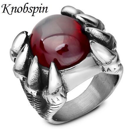 L'anello di barretta degli uomini della pietra rossa della pietra dell'artiglio di personalità di modo punk i monili del motociclista dell'anello dell'acciaio inossidabile di formato 7-12 bague homme
