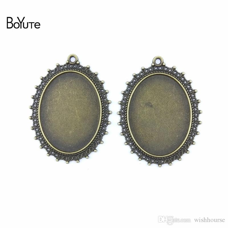 BoYuTe (30 Pieces/Lot) 40*30MM Cabochon Base Zinc Alloy Antique Bronze Plated Blank Pendants for Jewelry Findings & Components Diy Necklace