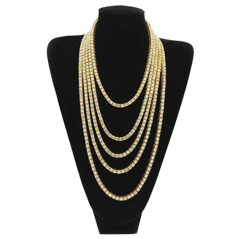 Men's Hip Hop Tennis Chain 1 Row Necklaces  Bling Bling Rhinestones Necklace Gold Color Men Chain Fashion Jewelry