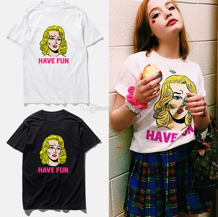 Monroe Fun camisetas estampadas de manga corta Tops femeninas de calle Top Summer Tide Shirt Tops de mujer
