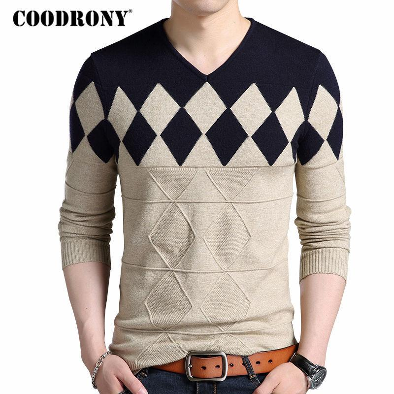 COODRONY Cashmere Wool Sweater Men 2018 Autumn Winter Slim Fit Pullovers Men Argyle Pattern V-Neck Pull Homme Christmas Sweaters S917