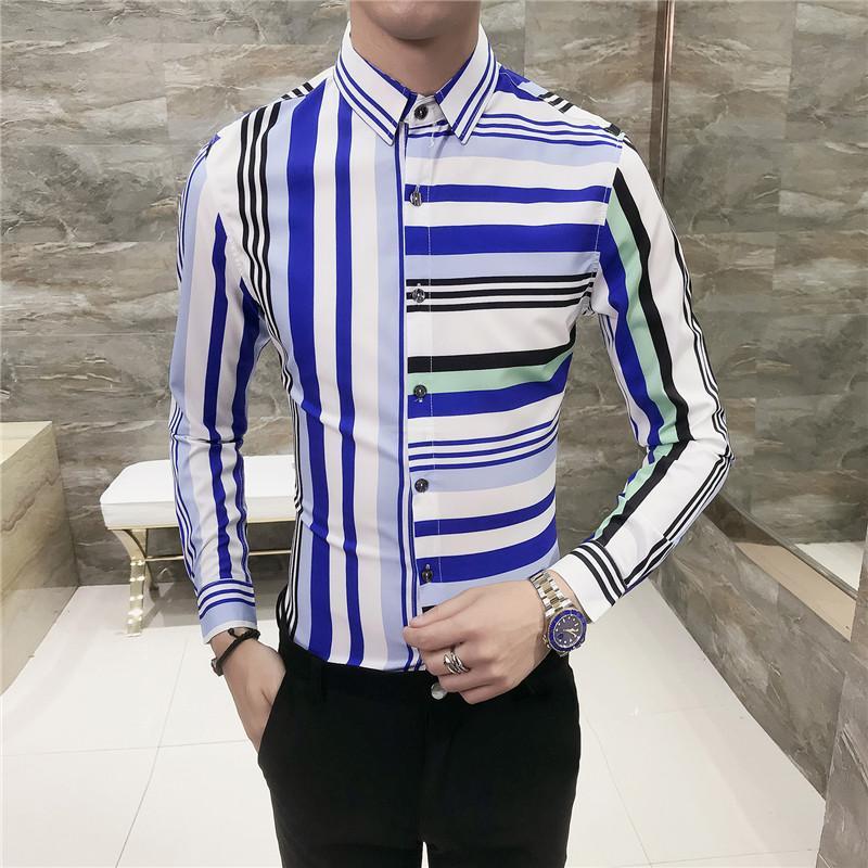 Nova personalidade listrado lapela dos homens impressão camisa de mangas compridas, coreano magros macacão boate ferramentas barbeiro moda