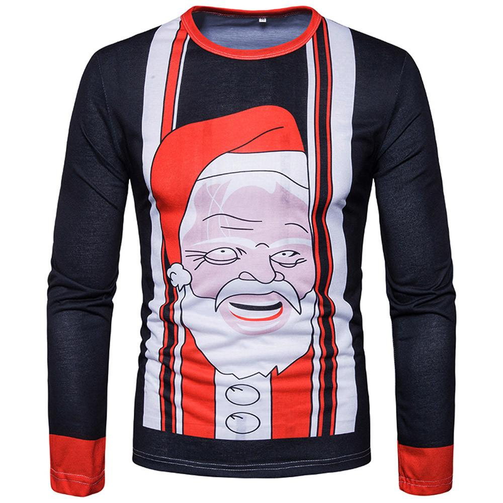 Christmas Main Product Slim Casual Man Santa Claus Print Quality Pullover Autumn Winter Quality Pullover Tops WS&&D