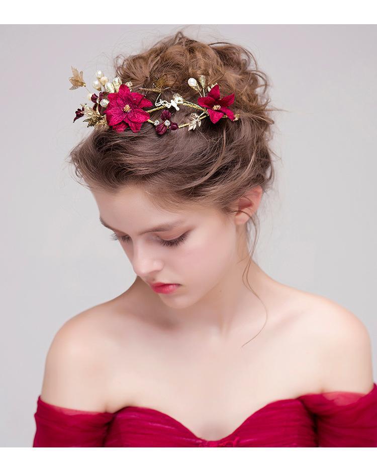 Women Bridal Wine Red Flower Headbands Handmade Simulated Pearls Hairband Butterfly Hair Jewelry Wedding Accessories tiara fiori