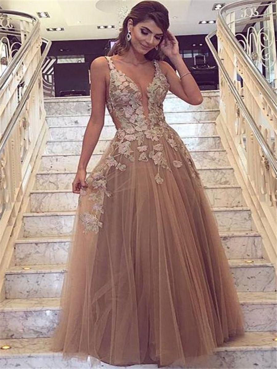 188c3a5517 Prom Dresses 2018 Elegant Sexy Spaghetti Straps Deep V-Neck A-Line Evening  Gowns Lace Appliques Long Plus Size Custom Made Vestidos de Festa