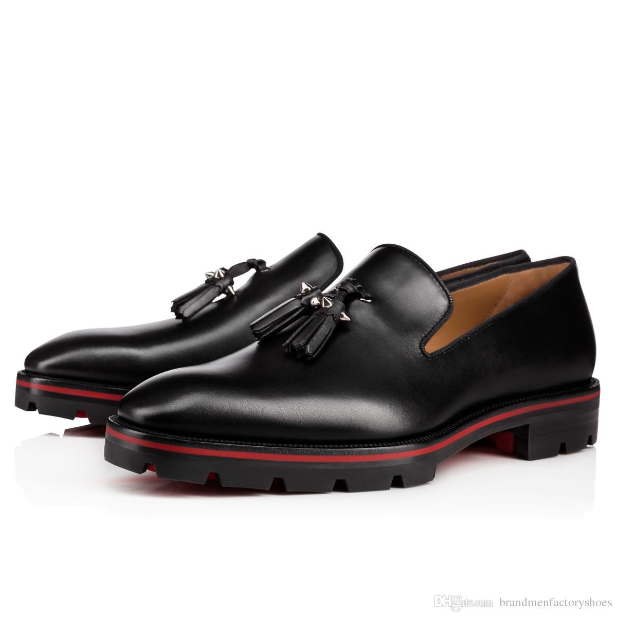 2018 novos homens de moda sapatos de couro preto mocassins spike stud sapatos formais homens sapatos de negócios franja sola vermelha
