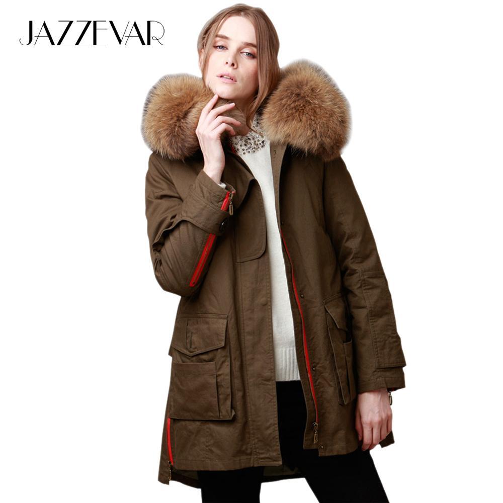 JAZZEVAR nouvelle 2018 hiver veste manteau femmes parkas armée vert grand col de fourrure de raton laveur à capuchon femme outwear vêtements amples S18101203