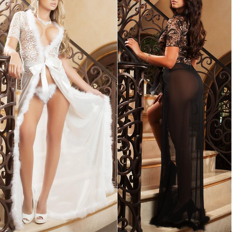 Women Sexy Lingerie Dress Underwear Lace Long Gown Sleepwear Robe G-string Sets Black white colors 1pcs Y1892909